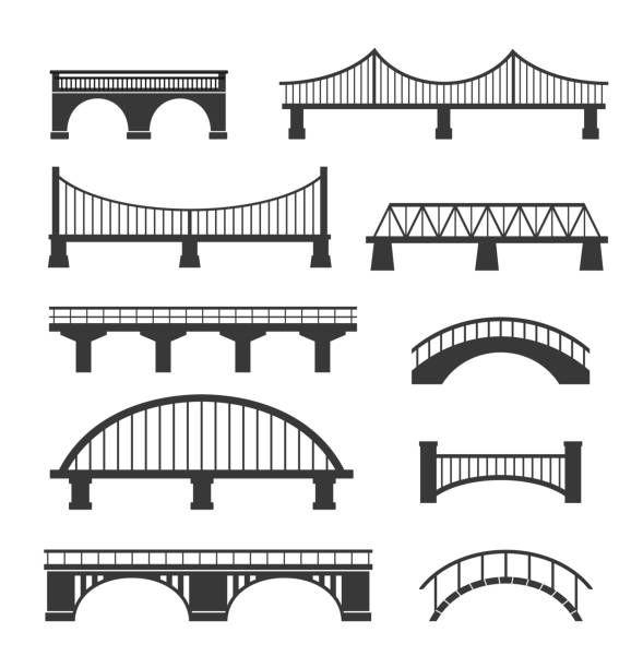 Set Of Different Bridges Isolated On White Background Black And Clip Art Elevator Design Bridge Icon