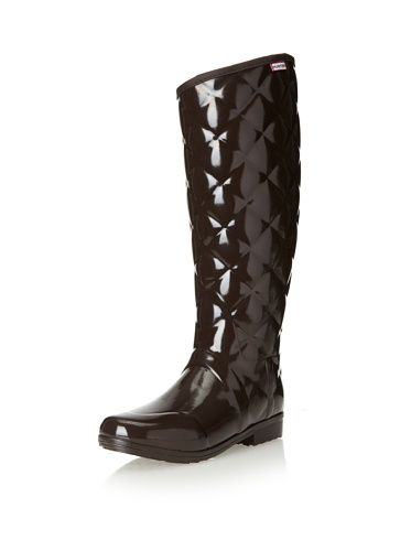 Hunter Boots Women's Regent Savoy Quilted Rainboot (Bitter Chocolate)