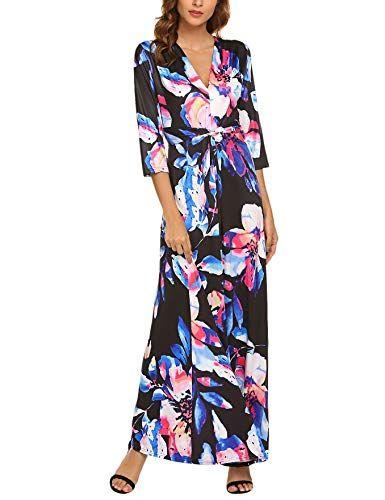 c9d5c22c0a7 Qearal Women s V Neck 3 4 Sleeve Digital Floral Printed Party Loose Long  Maxi Dress