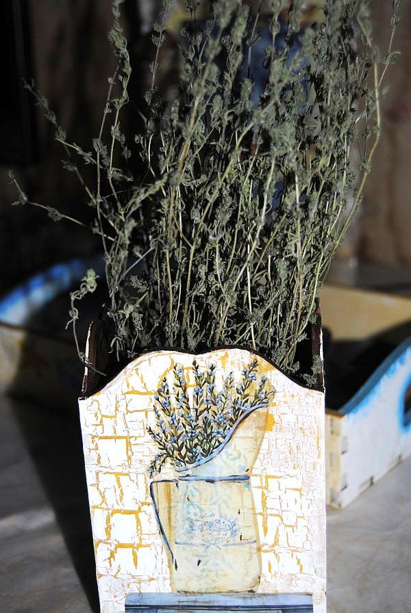 Деревянная вазочка, карандашница в стиле шебби шик, мастер класс