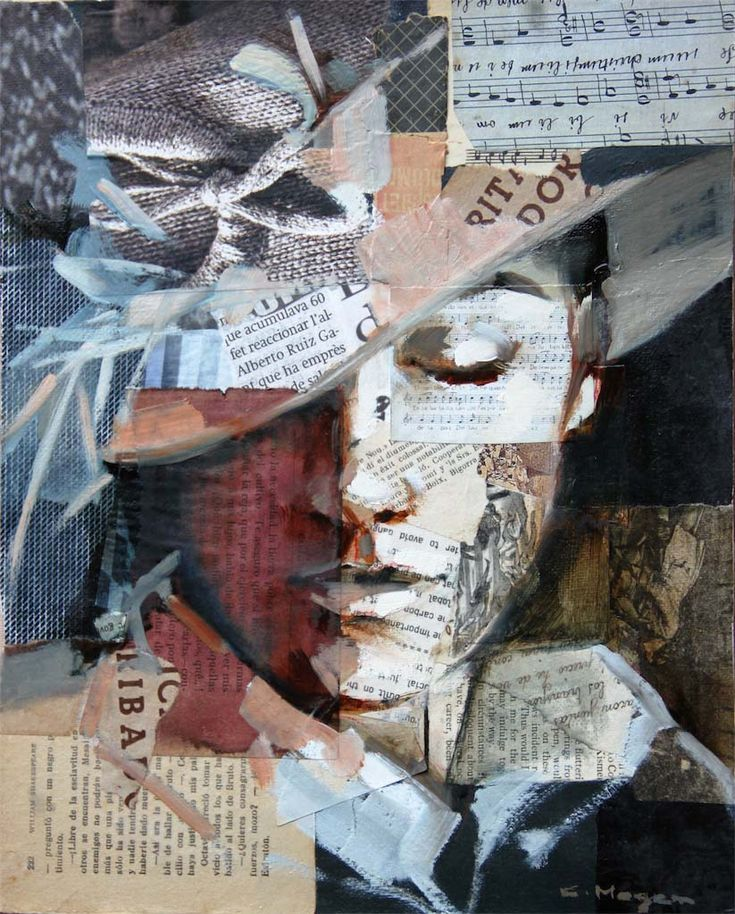 This collage is created by using mixed media.he woman in the picture seems very…