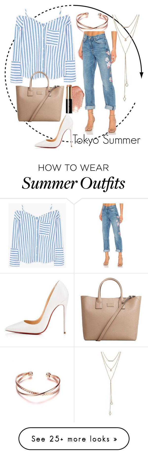 """""""Travel Series: Tokyo Summer outfit"""" by outfitsdisney on Polyvore featuring Bobbi Brown Cosmetics, GRLFRND, MANGO, Christian Louboutin and SUGARFIX by BaubleBar"""