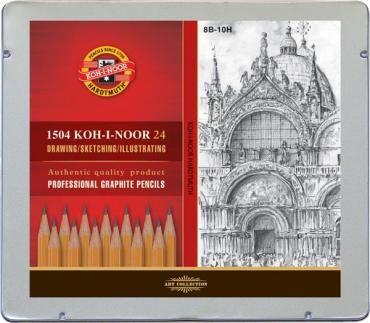 Ołówki grafitowe Koh-I-Noor, zestaw 24 ołówków,  8B-10H