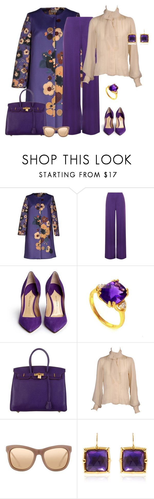 """""""outfit 2399"""" by natalyag ❤ liked on Polyvore featuring Eddy B., WearAll, Paul Andrew, Hermès, Yves Saint Laurent, Linda Farrow and Larkspur & Hawk"""