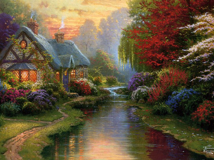 Quiet Evening- The only Thomas Kinkade cottage *that I know of* that has a weeping willow tree in it