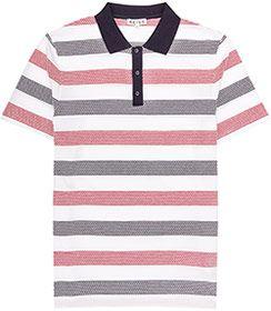 Mens White Stripe Polo Shirt - Reiss Carlo