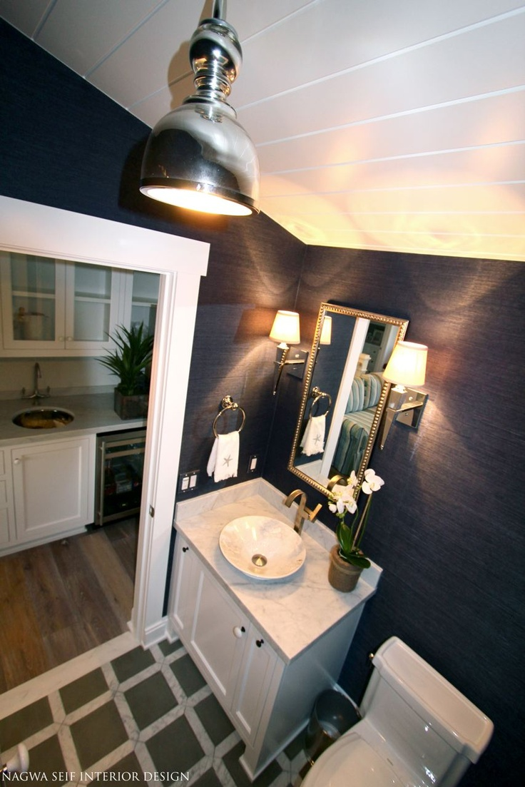 24 best images about application grasscloth on for Navy bathroom wallpaper