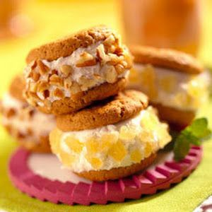Gingersnap Ice Cream Sandwiches With Cookies, Breyer Ice Cream, Finely Chopped Pecans