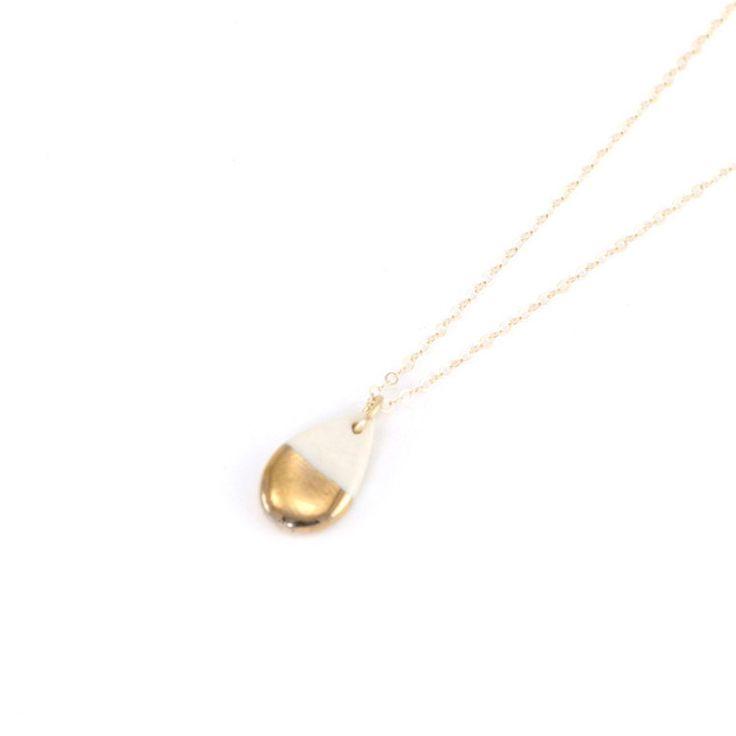 ZOË COMINGS tiny teardrop necklace, gold half.jpeg
