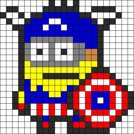 Captain America Minion  perler bead pattern change to cross stitch