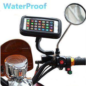 WaterProof Moto Phone Mont, 360º Rotatif Couverture réglable Moto Téléphone avec support Poncho Gps VTT Scooter Mobylette Rétroviseur Stand…