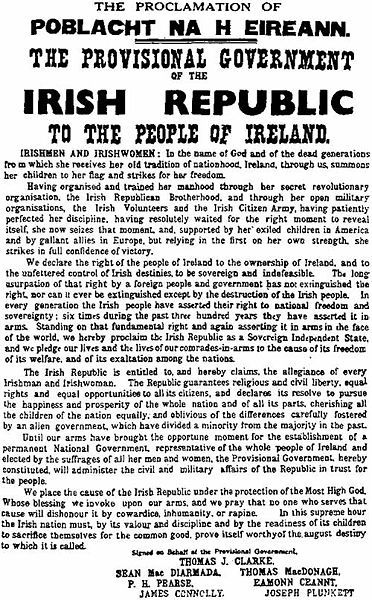 One of the most famous images in Irish history: the proclamation of an Irish Republic handed out at the start of the Easter Rising, 1916.