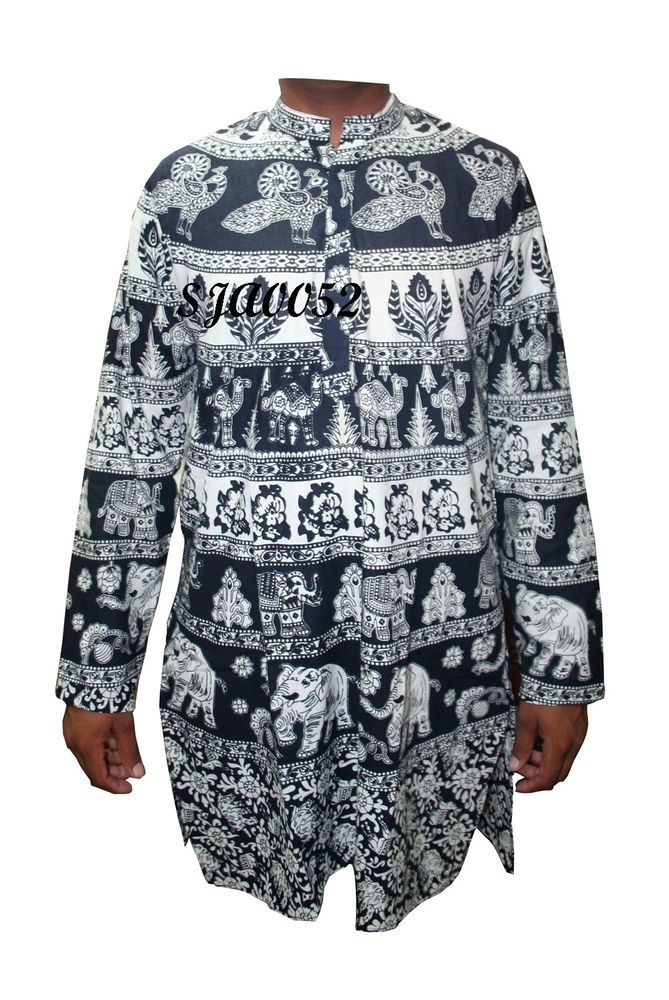 12530e2b47c Indian Ethnic Mens White Kurta Tunic Cotton Shirt Boho Elephant Print Shirt  #Handmade #ButtonFront