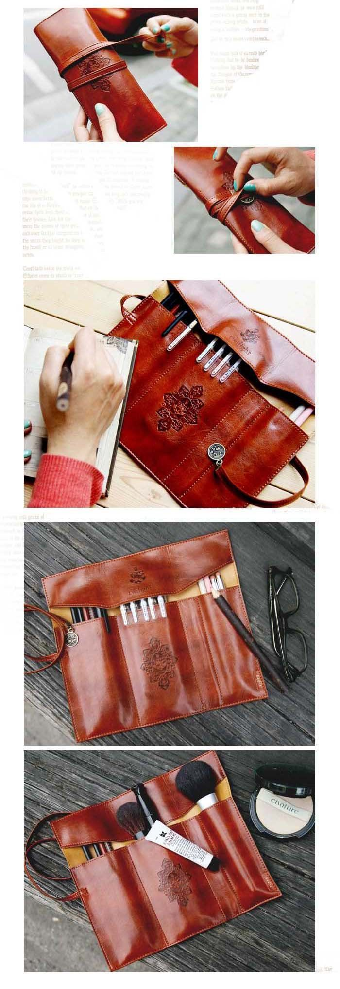 Retro leather pen bag! Great for Art pencils, brushes, pens, etc...
