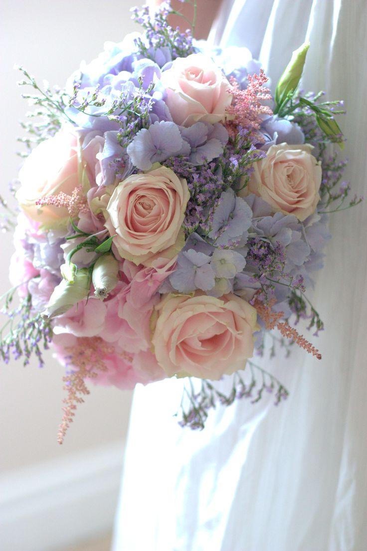 Vintage wedding flowers pastel colours Lilac pink smaller bridesmaid bouquet meadow flowers