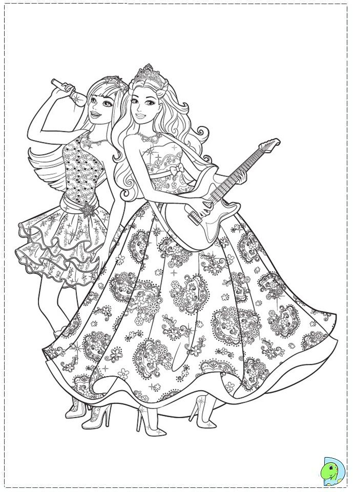 Printable Barbie And Popstar Coloring Page