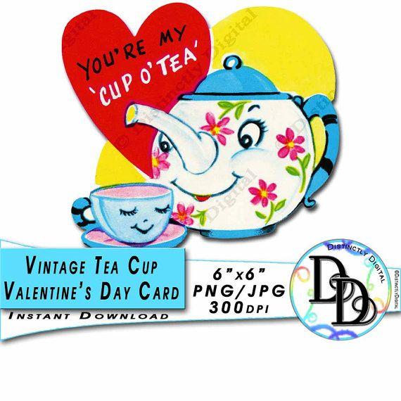 Vintage Tea Cup Valentine Printable Card Antique Tea Kettle Set Digital Clip Art Instant Download Commercial Use - by DistinctlyDigital