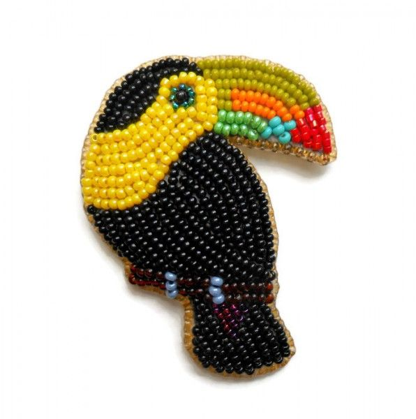 toucan bead embroidery brooch