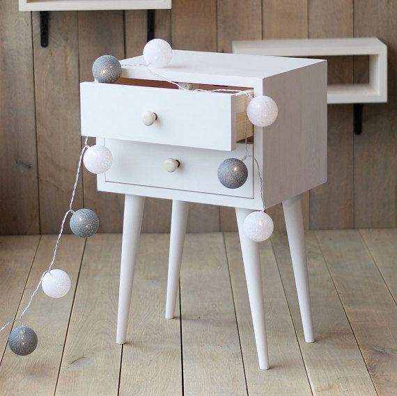 White Two Drawer Nightstand Side Table Small table by ALiusy