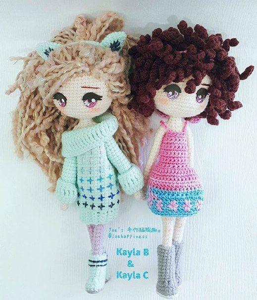 Crochet amigurumi dolls.