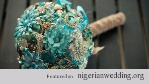 teal broch wedding boquet - Google Search