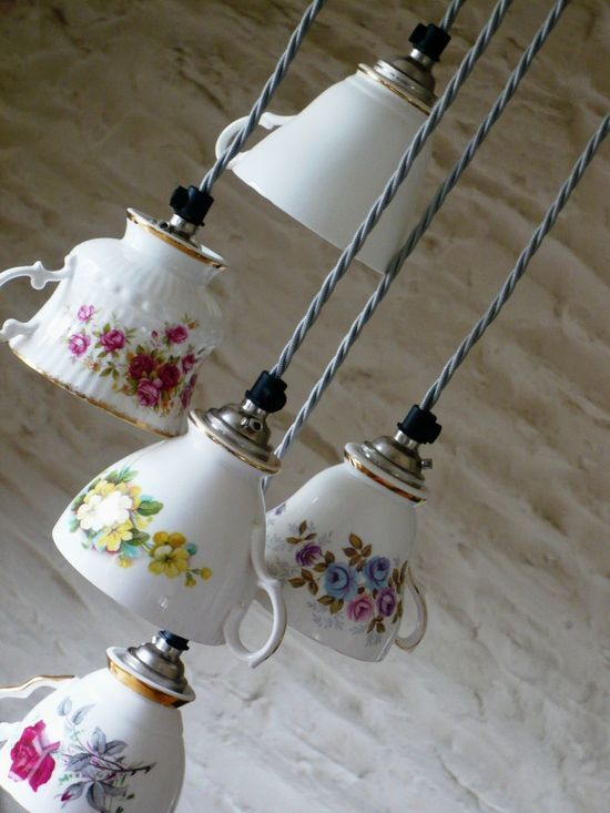 tea cup crafts | Crafts / Vintage China Tea Cup Multi Light, Pendants. A great reuse of grandma or great aunt's tea cup collection. Fun in a kitchen nook?