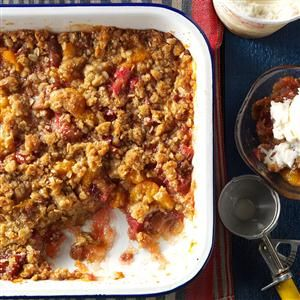 Rhubarb Mandarin Crisp Recipe -An attractive dessert, this crisp is also a popular breakfast dish at our house, served with a glass of milk rather than topped with ice cream. Because it calls for lots of rhubarb, it's a great use for the bounty you harvest. —Rachael Vandendool, Barry's Bay, Ontario