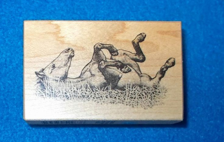 PSX F-2369 Horse rubber stamp rolling in grass animals farm animals wood mounted vintage 1999 cardmaking stamping scenic mail art horses by NoodlesNotions on Etsy