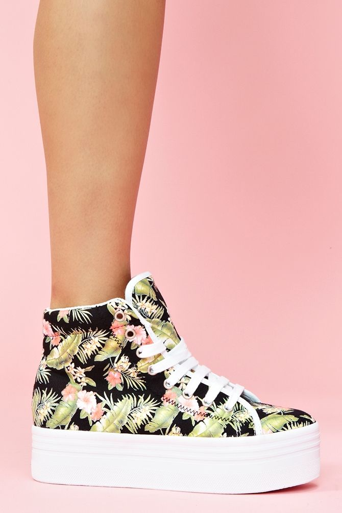 on trend with the Hawaiian print thing happening this summer.  can't really get behind tiki/flower print shirts, but these sneaks are CUTE!    Homg Platform Sneaker  $78.00