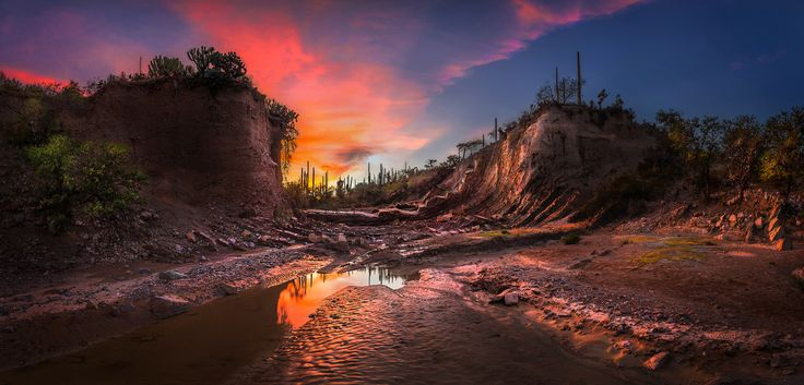 Rocky Creek Sunset - Rocky Creek Sunset at the Tehuacan-Cuicatlan biosphere reserve..