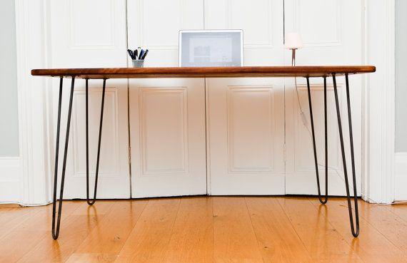 Minimal / Modern / Midcentury Inspired Iroko Desk With Handcrafted Raw Iron Hairpin Legs
