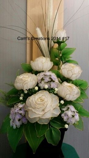 My handmade nylon flowers. White roses with hydrangeas