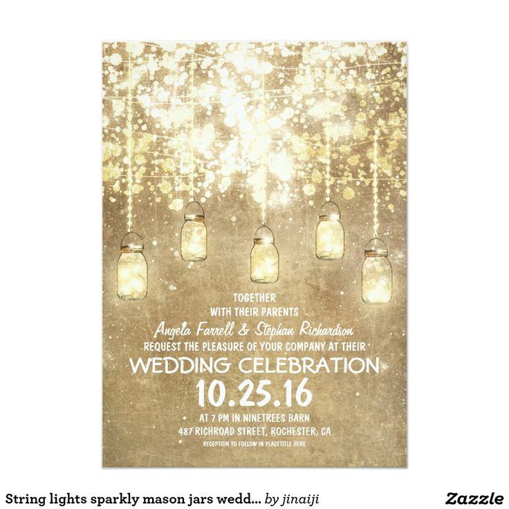 "String lights sparkly mason jars wedding invites 5"" x 7"" invitation card"