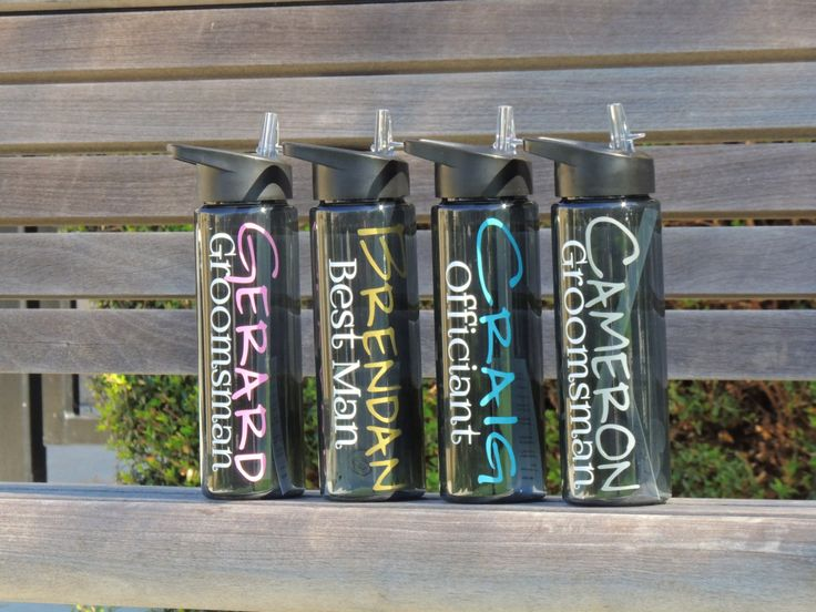 Bridesmaid water bottles,groomsmen water bottles, bridal party sport bottles, personalized sports bottle, wedding party favor, personalized by ShopAroundTheCorner3 on Etsy