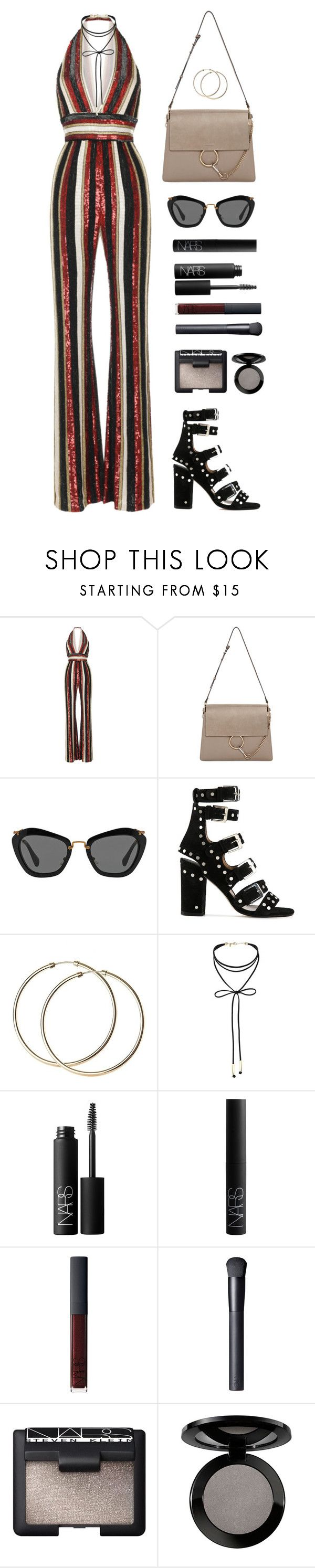 """""""Sequin Jumpsuit"""" by baludna ❤ liked on Polyvore featuring Zuhair Murad, Chloé, Miu Miu, Laurence Dacade, Miss Selfridge, NARS Cosmetics and Vincent Longo"""