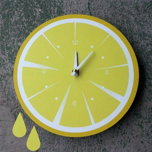 Captivating Lemon Slice Kitchen Clock, Yellow, Kitchen Clock CQ Decor:Amazon:Home U0026