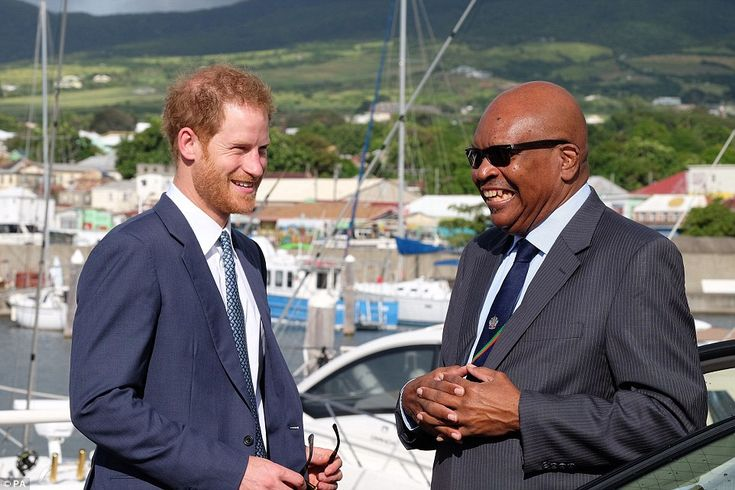 It's hot! St Kitts and Nevis Prime Minister Dr Timothy Harris greeted the Prince at Port Zante this morning