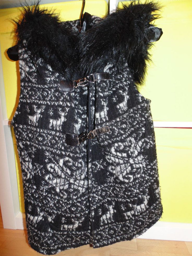 ZARA HOODED XS UK 6 8 WAISTCOAT WINTER WITH HUGE FUR HOOD