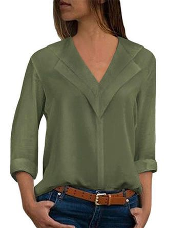 VERYVOGA Solid V Neck Long Sleeves Casual Elegant Blouses