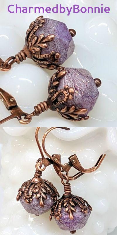 Purple Boho Chic Glass Bead Earrings, Dangle Drop, Czech Glass, Lavender Flower, Copper, Jewelry Gift For Her, Leverback, Bohemian Style