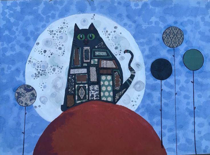 cat in moonlight mixed media. Prince Caspian by Katie Watts