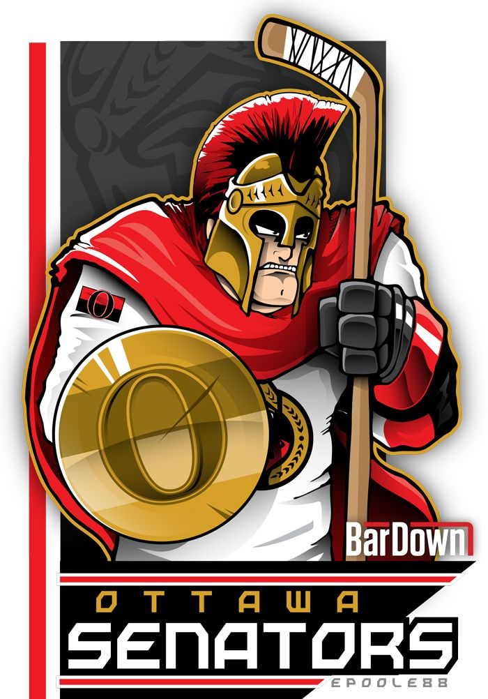 Dude that shield is WAY too small.  The Ottawa Senators done up by Eric Poole. More of his work at http://epoole88.tumblr.com