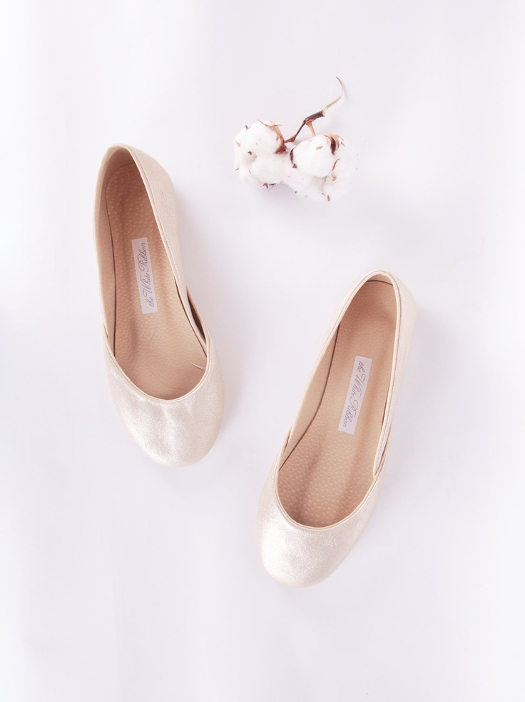 up-cycled leather ballet flats. white gold.. Bridesmaid shoe-zies