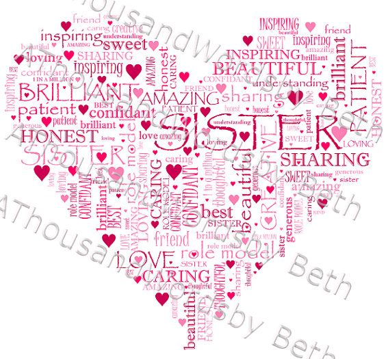 Sister Word Art Cloud Fully Customisable By
