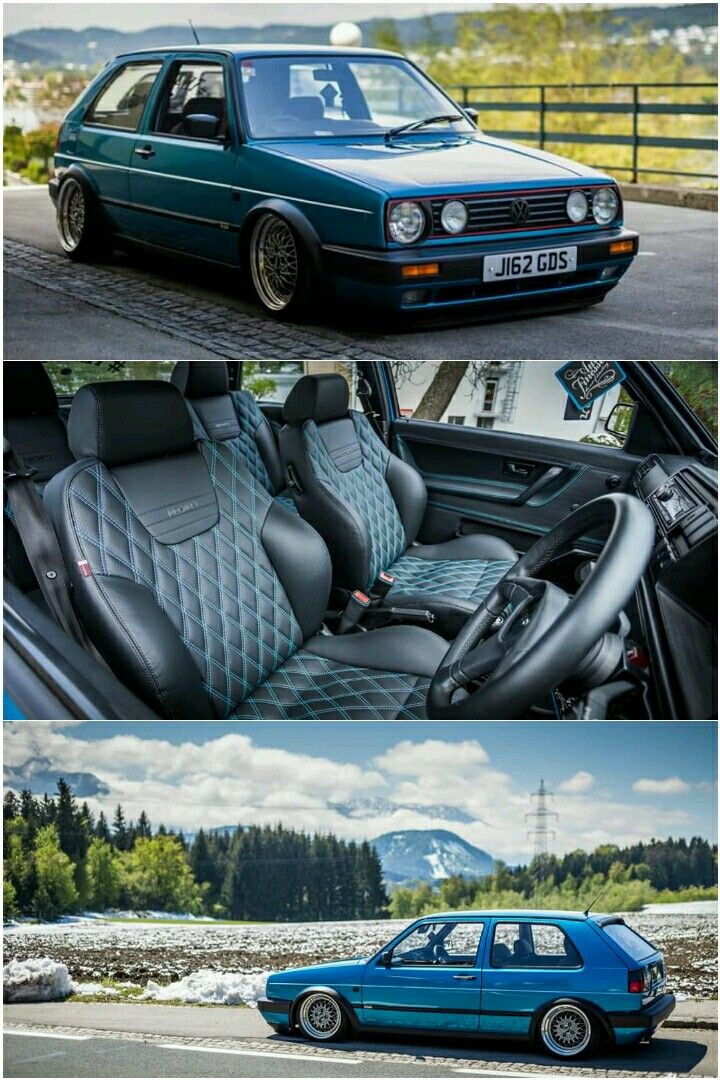 Volkswagen Golf Mk1 GTi Recaro interior with diamond stiching