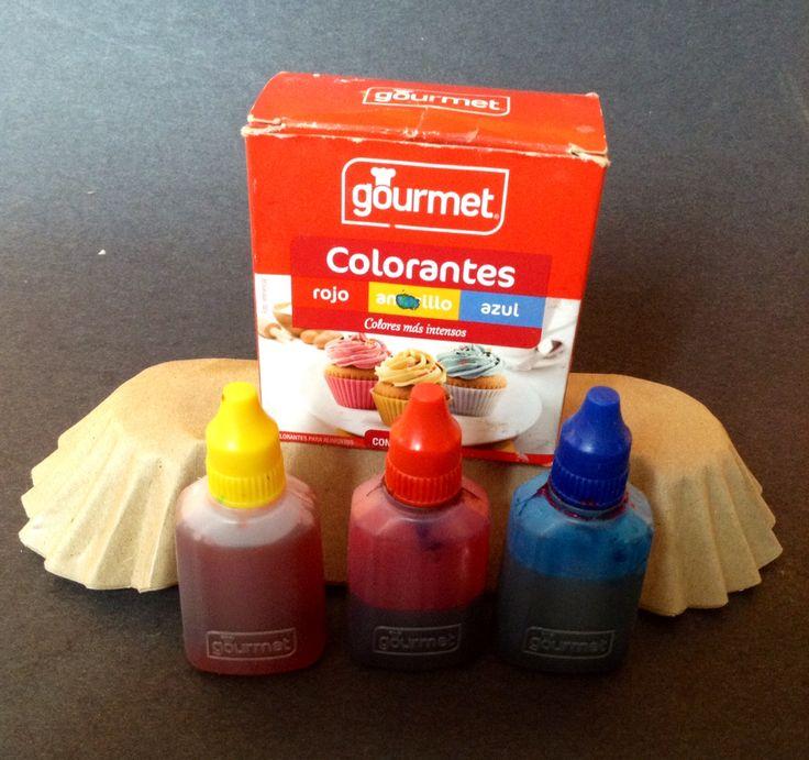 Colorantes líquidos de Amarillo, Rojo y Azul.