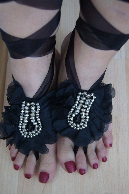 Gothic Black ribbon rhinestone Beach wedding barefoot sandals