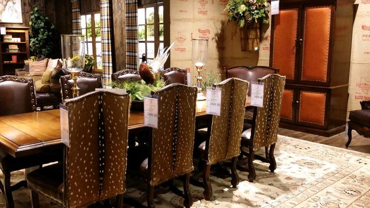 Rustic Decor Is Taken To Another Level With This Unique Dining Room Set!  The Beautiful Chairs Are Draped In Deer Skin And Smooth Leather, While The  Sturdy ...