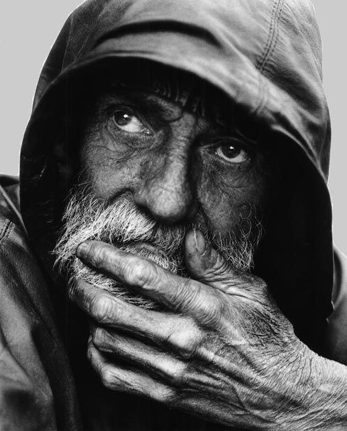 "The caption from another pinner(s) said ""Homeless man only skin and bones"", but looking at him, I wonder, does his homelessness define him?"
