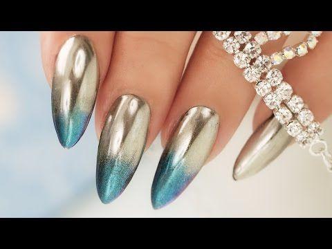 LUXE BLUE VELVET & DIAMOND PEEKABOO NAILS - DOUBLE SIDED MANI CRYSTAL NAILART - YouTube